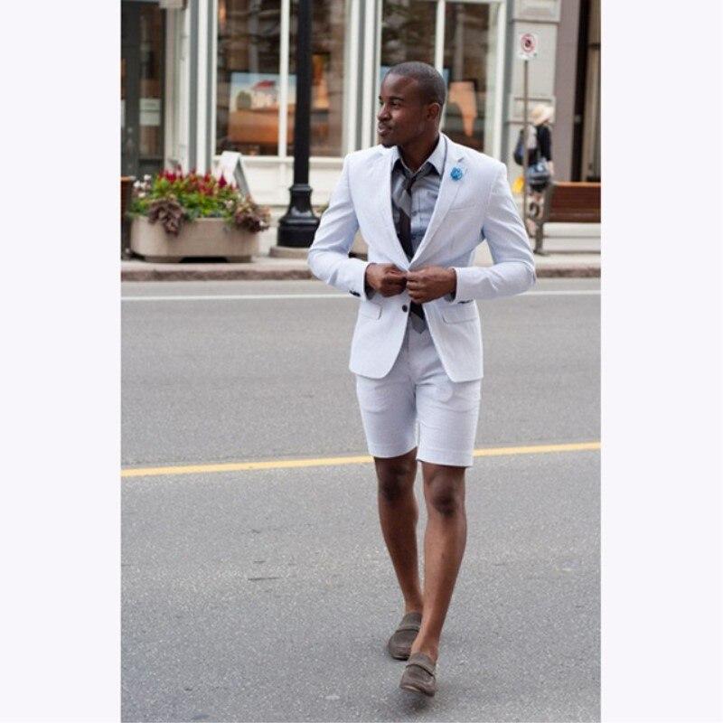 Erkek Kıyafeti'ten T. Elbise'de 2018 Yeni Zarif Beyaz düğün Erkek Takım Elbise kısa pantolon Moda Iş Terno Masculino genç Erkek Yaz Giyim Takım Elbise Setleri'da  Grup 1