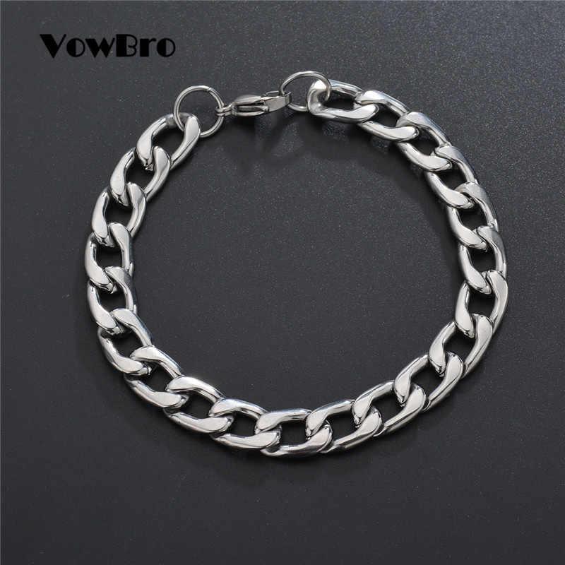 VowBro 3-11mm hommes Bracelets argent en acier inoxydable bordure cubaine lien chaîne Bracelets pour hommes femmes en gros bijoux cadeau
