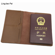 LingJiao Pai  2017 fashion multifunctional  men genuine leather passport cover case travel women credit id card holder bag