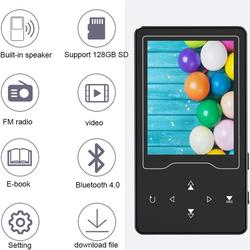 16GB Bluetooth4.0 MP4 Player Touch Button Built-in Speaker 2.4 inch HD Large Screen with FM, Video, Supports SD Card Up to 128GB