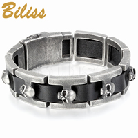 Vintage Black Leather Bracelet Men Skull Heads Charm Wrap Bangle 9 4 Inch Mens Boy Gift