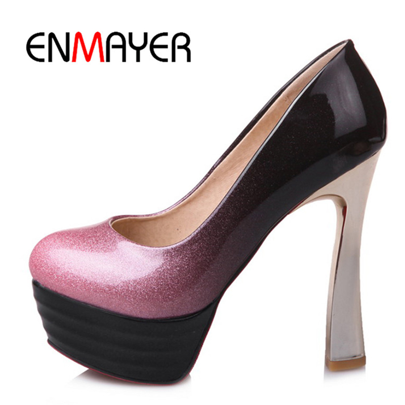 ФОТО ENMAYER Fashion Super High Heels Shoes Party Platform Qulity Pumps Gold Pink&Black Slip On Round Toe Basic for Woman shoes