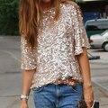 Женщины Моды С Плеча Блестками Slash С Длинным Рукавом Тонкий Блузки Золотой Цвет S/M/L/XL