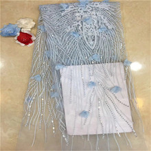 Fashion Saree Europe France Lace Fabric 3D Sequins Flower Embroidery African Lac