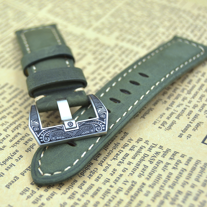 fashion buckle 22mm 24mm High Quality Men strap Vintage Crazy Horse Genuine Leather Watchband Brown Watch Straps for Panerai PAM 20 22 24 26mm black crazy horse genuine leather watchband fashion nato watch strap belt with silver or black buckle clasp