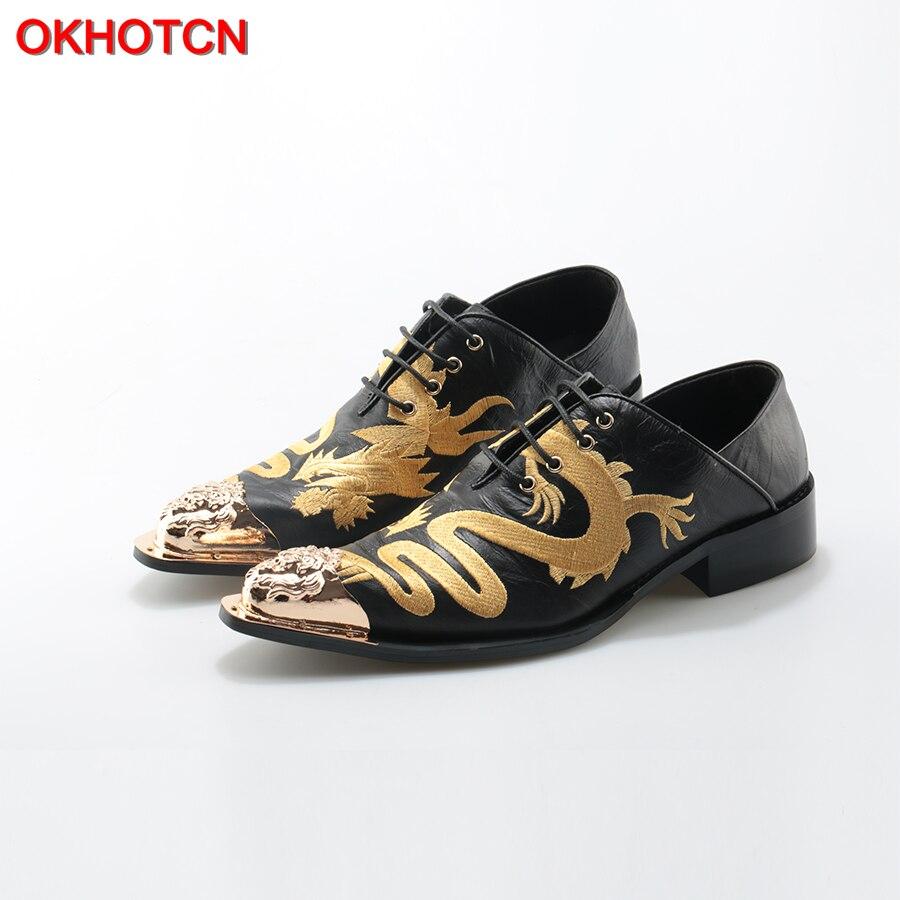 OKHOTCN Dragon Embroider Men Shoes Oxfords Metal Toe Lace Up Flats Shoes Leather Business Dress Shoes Man Footwear Plus size plus size lace trim maxi dress