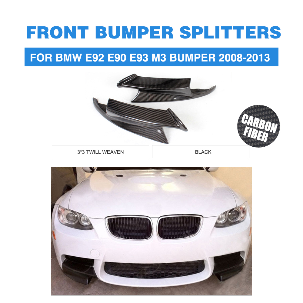 Carbon Fiber Head Bumper Splitters Side Aprons For BMW 3 Series E92 E90 E93 M3 Bumper 2008-2013 Front Lip guard M-Sport Style olotdi carbon fiber front lip spoiler gts style front bumper for bmw e92 e93 m3 bumper car styling accessories factory