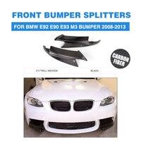Carbon Fiber Head Bumper Splitters Side Aprons For BMW 3 Series E92 E90 E93 M3 Bumper 2008 2013 Front Lip guard M Sport Style