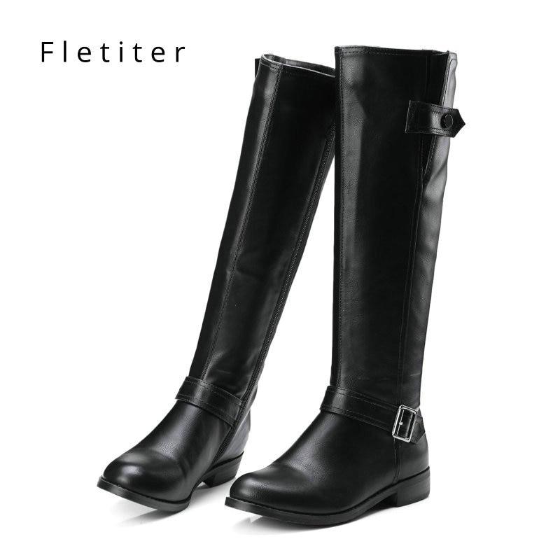 Genuine leather knee high winter boots women Low heels fashion women boots Plus size Black womens