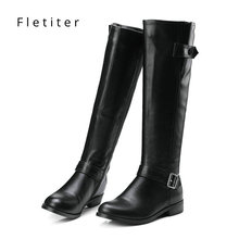 Genuine leather knee high winter boots women Low heels fashion women boots Plus size Black womens shoes Flats Brand fletiter enmayer hot quality winter womens boots genuine leather high boots new flats heels shoes women boots big size 34 43 knight boots