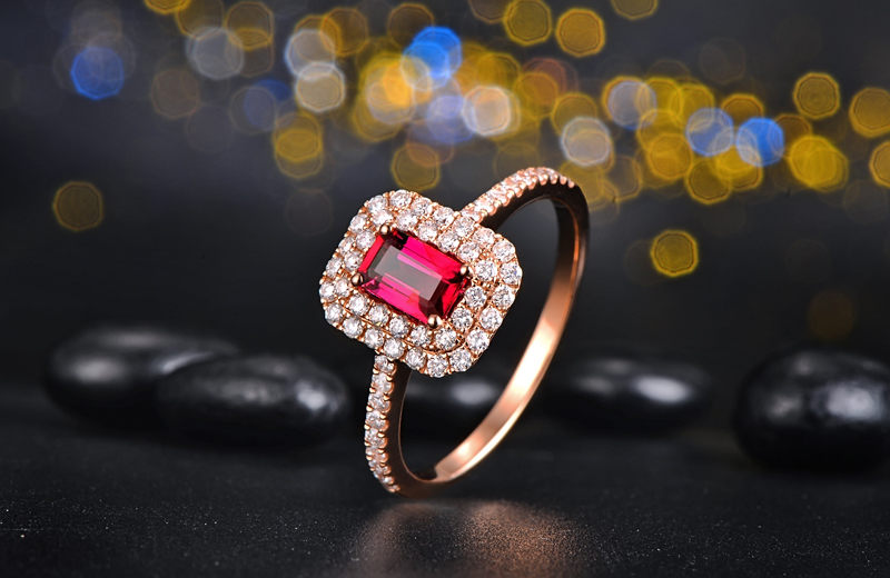 18Kt/ 750 Gold 0.5ct Natural Ruby 0.45ct Round Cut Diamond Engagement Ring Jewelry Gemstone