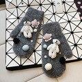 НОВЫЕ перчатки мультфильм DIY украшения кружева цвета бадминтон мяч кролик волос смешанные рукавицы, чтобы сохранить теплые перчатки для женщин