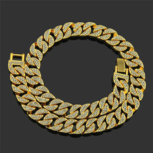 цена на Hip hop Bling Guban Paved Rhinestone Iced Out Mens Zircon Necklace Chain Necklaces Bracelet For Women Men Jewelry Link Chain