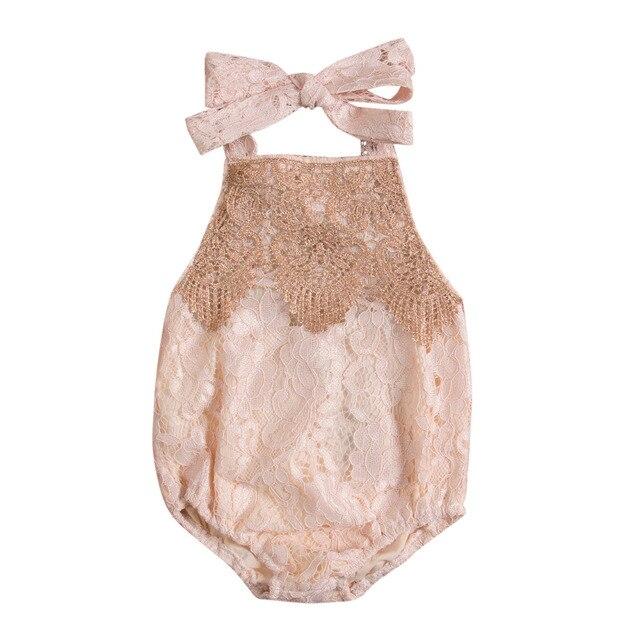 Newborn Infant Baby Girl Pagliaccetto Del Merletto Backless Tuta Carino Estate Vestiti Prendisole BabyOutfit