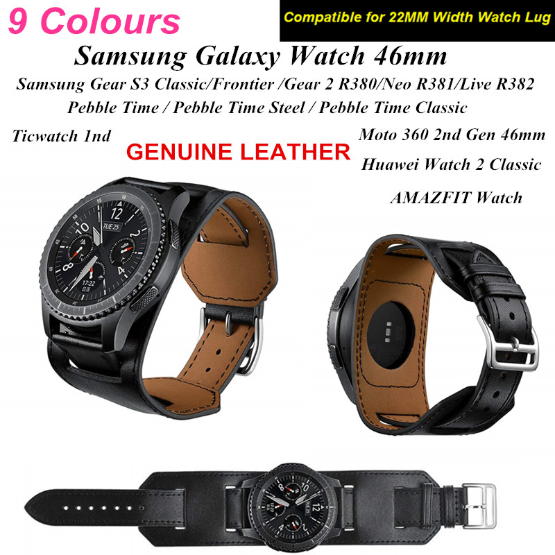 22MM Genuine Leather Band For Samsung Galaxy Watch 46MM Leather Cuff Bracelet Replacement For Gear S3 AMAZFIT Watch Wristband