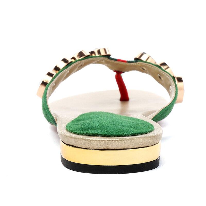 Peep Chaussures Femmes Mode En Daim Gamin D'été Casual Toe Cristal Vert Appartements Extérieur Msstor Pantoufles Flops Flip 6AqwFXE