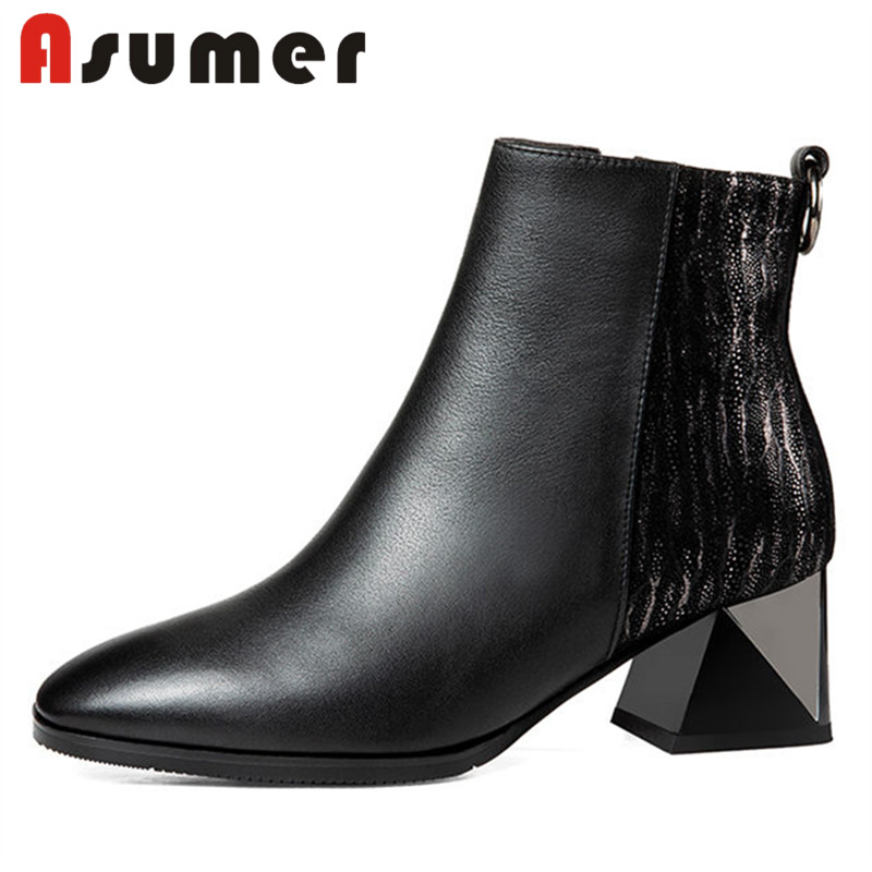 ASUMER HOT SALE 2018 adult elegant ankle boots for women pointed toe winter boots black simple thick heels genuine leather bootsASUMER HOT SALE 2018 adult elegant ankle boots for women pointed toe winter boots black simple thick heels genuine leather boots