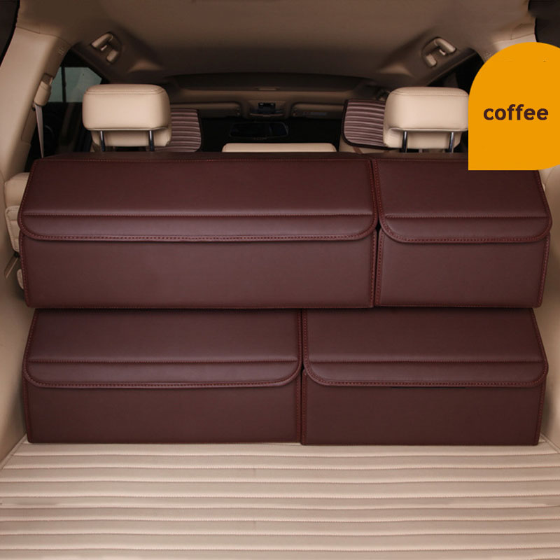 Car Trunk Box Storage Bag Organizer Foldable PU Leather Auto Tool Bag Durable Collapsible Cargo Storage Stowing Tidying