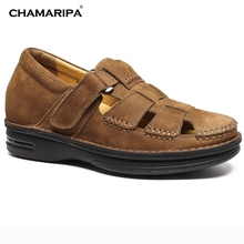 CHAMARIPA Increase Height 7cm/2.76 inch Taller Shoes Mens Leather Summer Sandals Elevator Shoes Height Increasing Brown