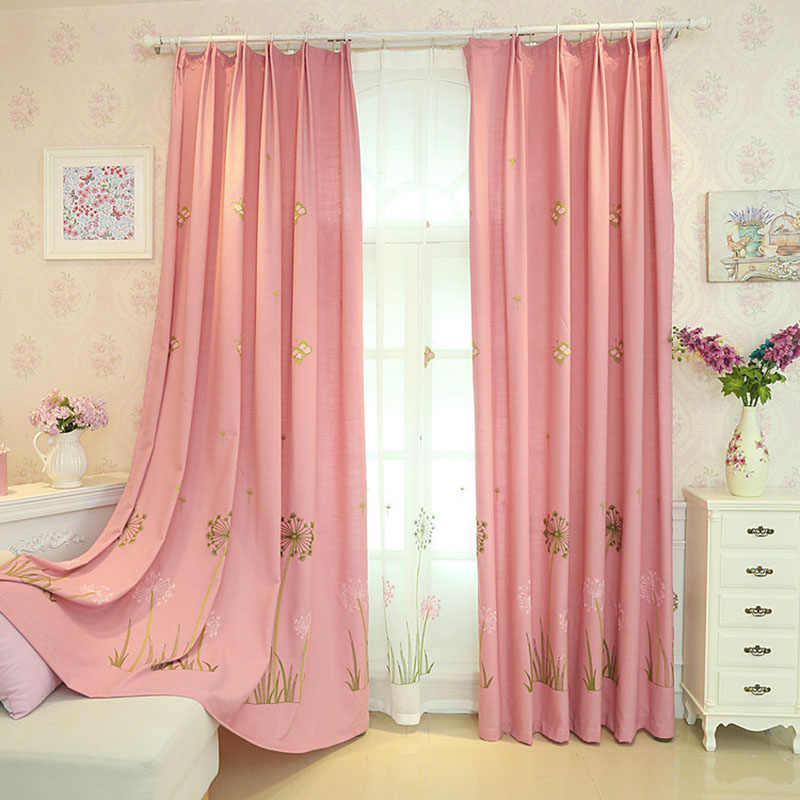 Pink Dandelion Embroidered Curtains for Bedroom Cute Cartoon Childhood Girls Princess Baby Room French Window Drapes JS16C