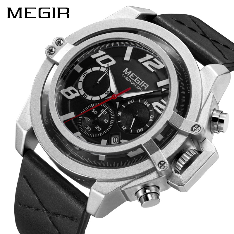 Creative MEGIR Men's Fashion Sport Watches Men Chronograph Quartz Clock Man Leather Military Waterproof Watch Relogio Masculino megir men s fashion casual chronograph sport watches men waterproof leather quartz watch man military clock relogio masculino