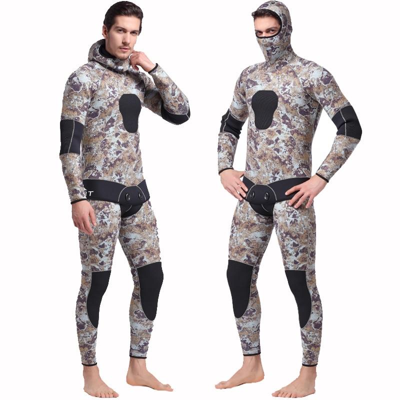 SBART 5MM Two Pieces Split Neoprene Scuba Diving Wetsuit Equipment Keep Warm Full Hooded Zipper Spearfishing Wet Suit For Men J elegant v neck solid color long sleeve loose chiffon blouse for women