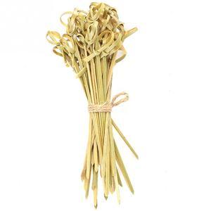 Image 3 - 100 adet bambu çubuk düğüm şiş kokteyl çubukları kanepe büfe parti sofra gıda kokteyl sandviç çatal sopa şiş