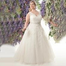 Elegant V neck Plus Size Wedding Dresses 2020 Vestidos de Noivas A line Tulle Custom Made Appliqued Bridal Gowns with Belt