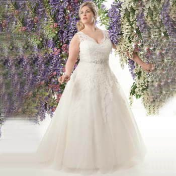 Elegant V-neck Plus Size Wedding Dresses 2020 Vestidos de Noivas A-line Tulle Custom Made Appliqued Bridal Gowns with Belt
