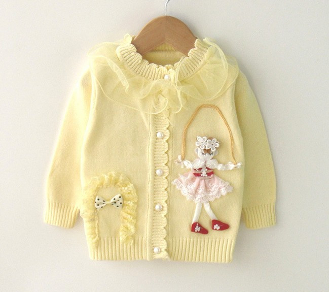 34fdc87202bc 9M to 2T baby girls fashion lace ruffle collar princess knitted ...
