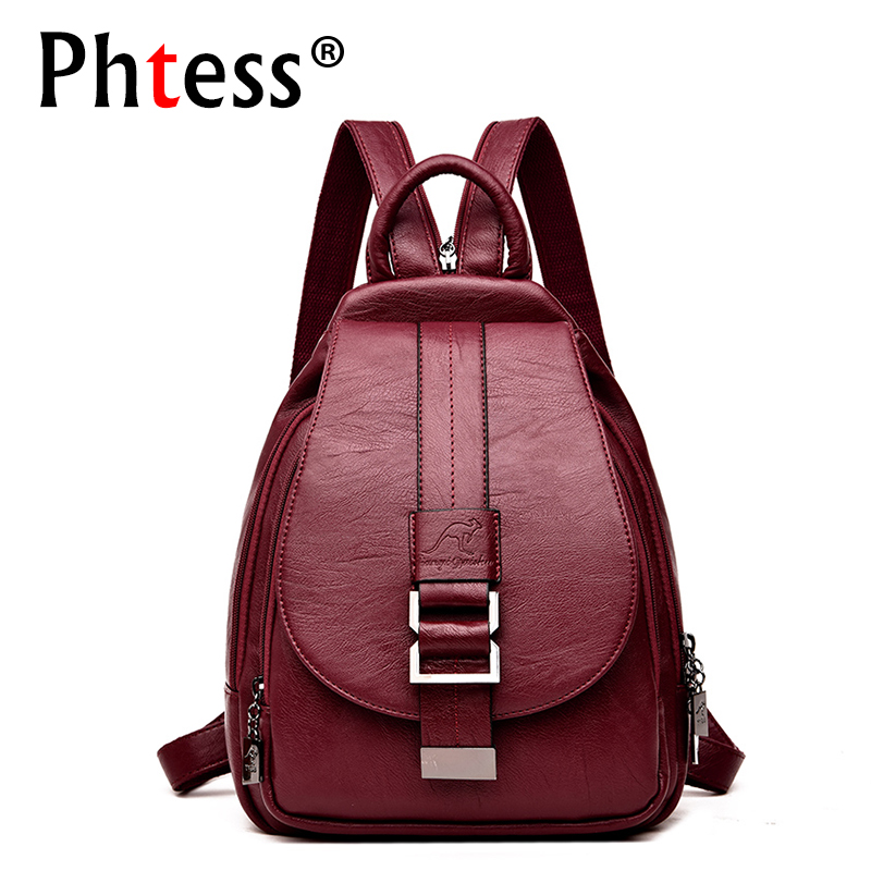 купить 2018 Women Leather Backpacks Vintage Female Shoulder Bag Sac a Dos Travel Ladies Bagpack Mochilas School Bags For Girls Preppy по цене 1561.22 рублей