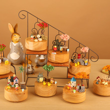 New Wooden Carousel Music Box Cute Animal Kids