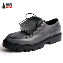 Retro Mens Genuine Leather Tassel Pointed Toe Shoes Thick Heel Lace Up Fringe Oxfords Business Man Casual Heighten Shoes