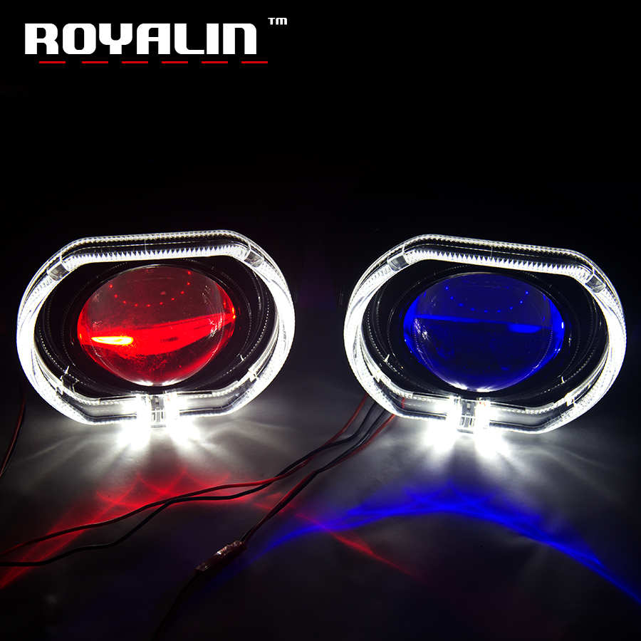 ROYALIN Car Styling Metal H1 Projector Lens 3.0 inch Bi Xenon Headlight Lens For BMW Angel Eyes Square Demon Eyes White Red Blue royalin car styling hid h1 bi xenon headlight projector lens 3 0 inch full metal w 360 devil eyes red blue for h4 h7 auto light