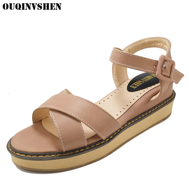 OUQINVSHEN Buckle Flat Gladiator Sandals Women Flat Platform Sandals Casual Fashion Ladies Sandals Brand Large Size Sandal Women