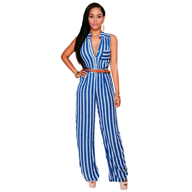 723bdb053008 Cfanny 2016 Rompers Womens Jumpsuit Plus Size Summer Overalls For Women  With Belted Women Blue Stripes