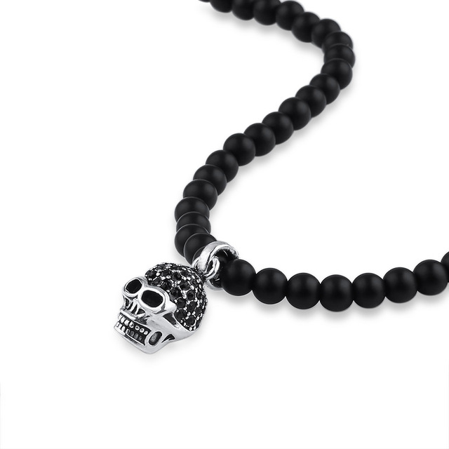 MATTE BLACK ONYX BEAD SKULL HEAD PENDANT NECKLACE