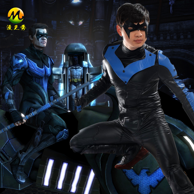 Batman Arkham City Nightwing Cosplay Costume Adult For ...