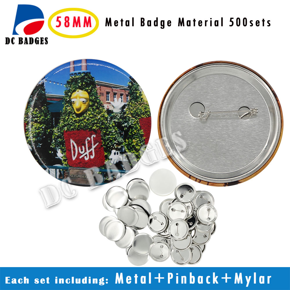 Free Shipping Factory 2-1/4 58mm 500sets All Metal Pinback Badge Button Material Supplier free shipping new pro 1 1 4 32mm badge button maker machine adjustable circle cutter 500 sets pinback button supplies