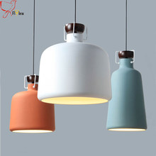 Nordic Pendant Lights For Home Lighting metal&wood Lampshade Modern Hanging Lamp restaurant Bedroom Kitchen luminaires suspendus(China)
