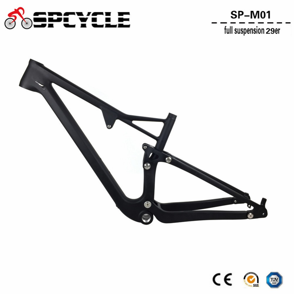 Spcycle T1000 Carbon Full Suspension Carbon MTB Frame 29er Carbon Mountain Bike Frames BSA Thru Axle Rear Shock 165*38mm 29er full suspension mountain bike toray carbon fiber mtb bicicleta bicycle frame ud matt bb92 165 38mm rear shock travel 110mm