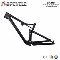 Spcycle T1000 Carbon Full Suspension Carbon MTB Frame 29er Carbon Mountain Bike Frames BSA Thru Axle Rear Shock 165*38mm
