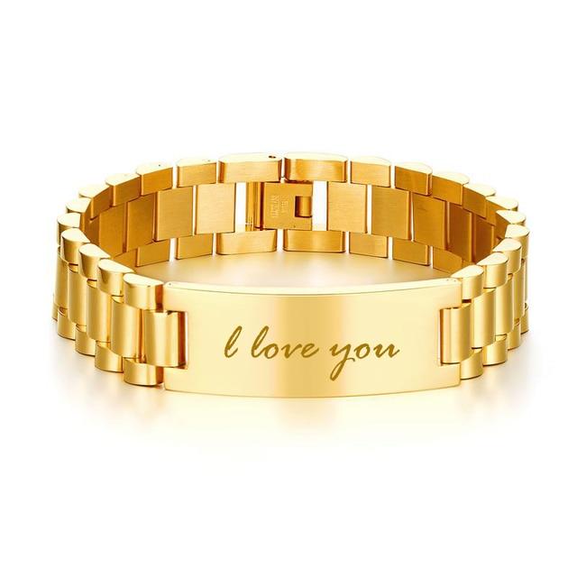 Men's ID Bracelets Stainless Steel Chain Link Braslet Pulseira Edelstahl Armband bileklik For Men Male Jewelry Free Engraving