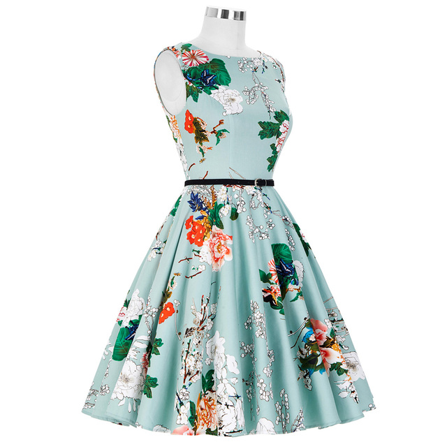 Women Dress New Patterns 2017 Plus Size Clothing Audrey Hepburn Floral Robe Retro Swing Casual 50s Vintage Rockabilly Dresses