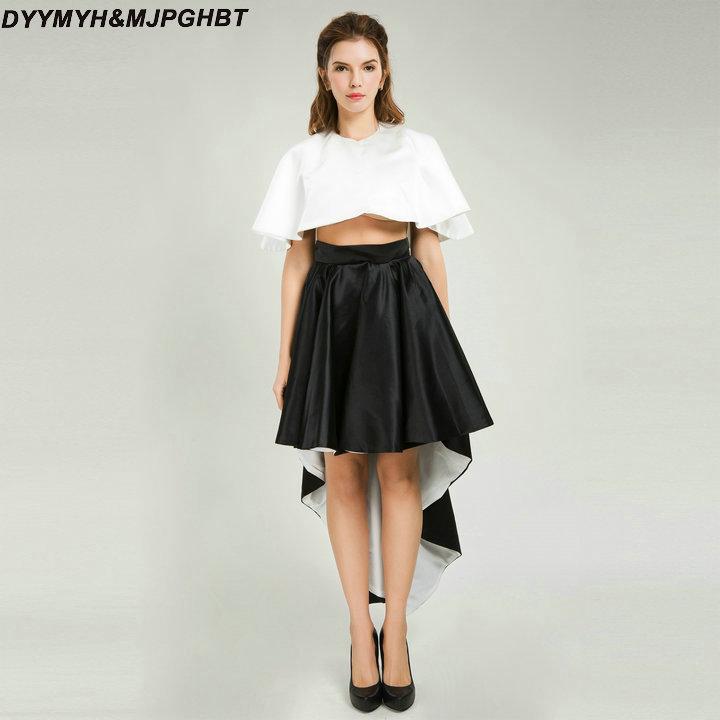 Twee stukken Prom Dresses O-hals Wit en zwart Contrast - Jurken voor bijzondere gelegenheden