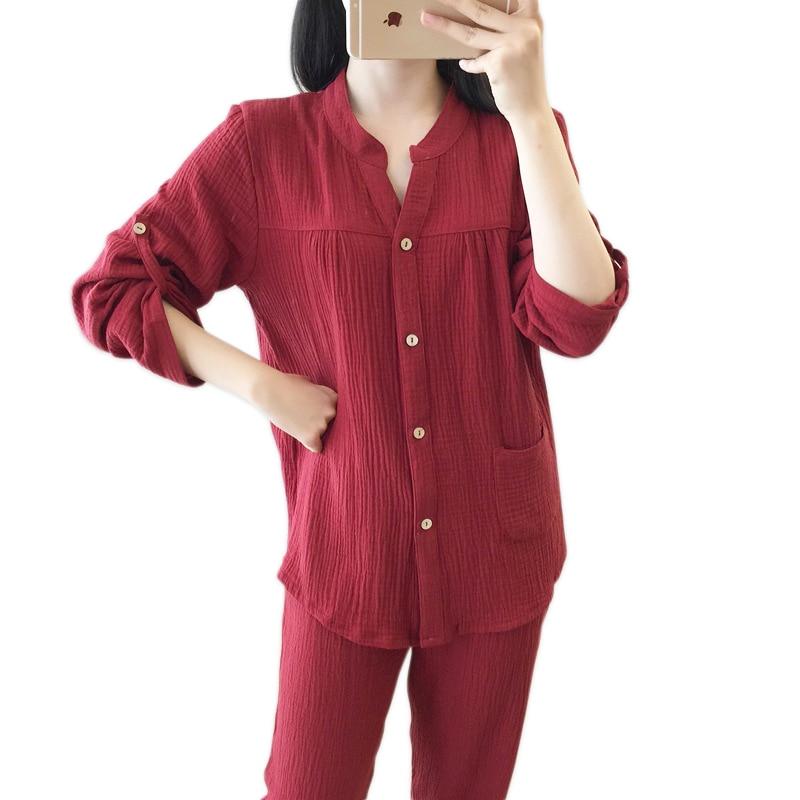 Fresh 100% crepe cotton   pajamas     sets   women Korea Sweet autumn sleepwear women long sleeve quality pyjamas women sleepwear