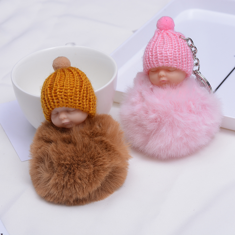 SUKI Cute Fluffy Sleeping Baby Keychain Pompom Faux Fur Ball Key Chain Car Keyring Women Key Holder Bag Pendant Charm Jeweler