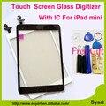 1 piezas Blanco y Negro Reemplace la pantalla Táctil digitalizador cristal del panel lcd con home buttom con conector ic para el ipad mini/mini 2