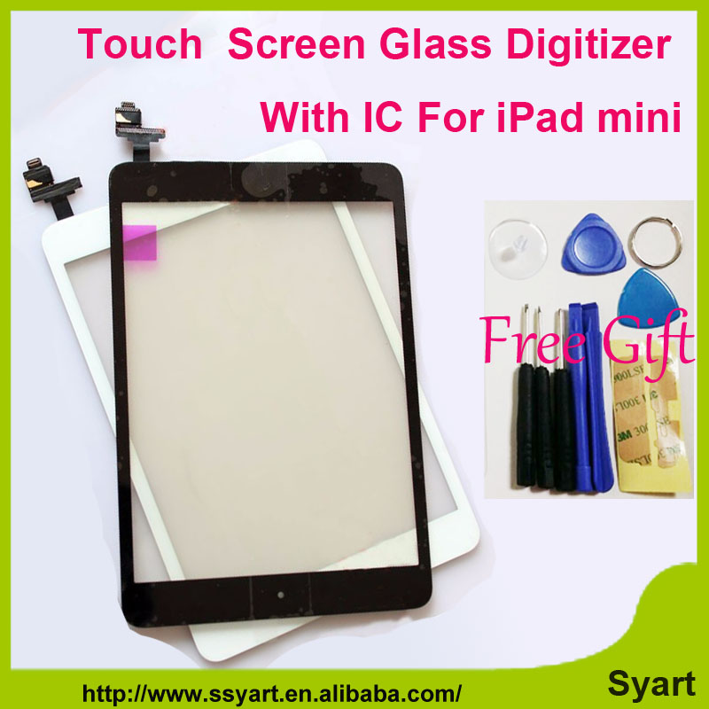 1piece White Black Replace Touch screen digitizer glass lcd panel with home buttom with IC connector