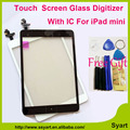 1piece White & Black Replace Touch screen digitizer glass lcd panel with home buttom with IC connector for ipad mini / mini 2